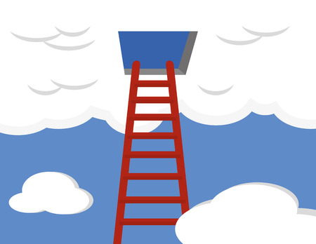 provider: A cloud computing concept with a red ladder climbing up into a blue sky and leading to an open door in a large cloud