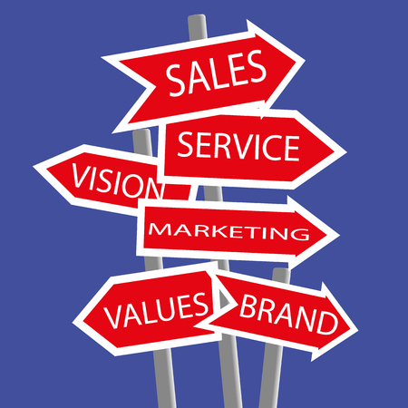 Collection of signposts in the form of direction arrows with the keywords for business basics added in white text on red Illustration