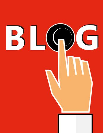 activating: Hand pressing a button in the word BLOG to open the website