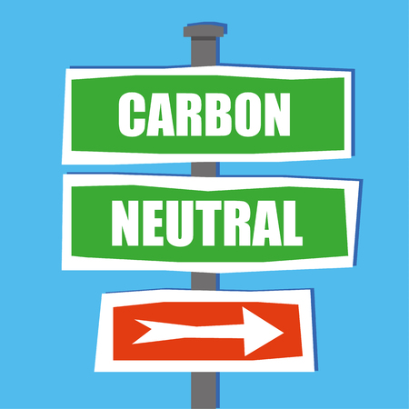 this: Road traffic or street name signs on a standing pole in a hand drawn style, with the words Carbon Neutral added in white text and an arrow pointing this way