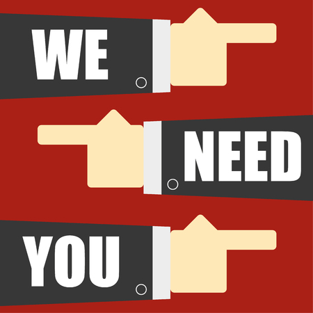 headhunter: Three stylized arms in business suits with pointing fingers and the words We Need You added to the arms in white text as a recruitment concept Illustration