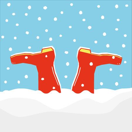 Para czerwone kalosze lub kaloszy zatrzymany do góry nogami w dryf dokonanej przez padający śnieg