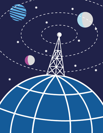 broadcasting: Transmission tower or radio mast on a stylized globe of the Earth sends signals out to the world and the planets and stars in space
