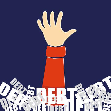 Hand die voor hulp terwijl wordt begraven in een berg van het woord schuld in witte en grijze tekst op een blauwe achtergrond