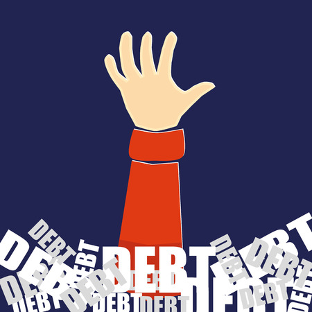 Hand reaching up for help whilst being buried in a mountain of the word debt in white and grey text on a blue background
