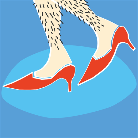 A pair of hairy female or possibly male legs walking along in red high heels Ilustração