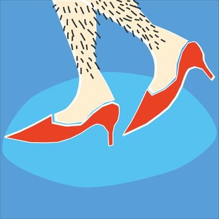 calcanhares: Um par de pernas femininas ou, eventualmente, do sexo masculino peludas caminhando ao longo nos saltos altos vermelhos