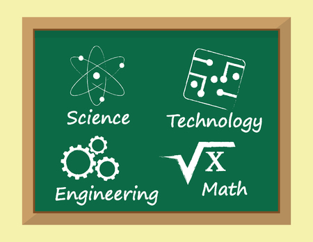 lessons: The so called STEM subjects for learning, Science, Technology, Engineering and Mathematics written on a blackboard alongside appropriate symbols Illustration