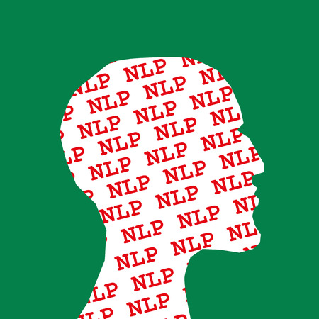 neuro: Profile of a head with the letters NLP the acronym for Neuro Linguistic Programming repeated in lines of red text and clipped to outline