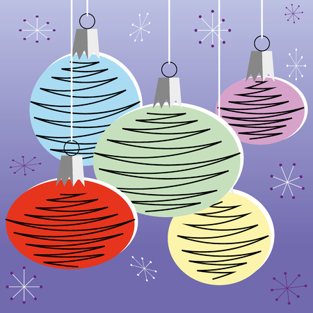 mid century modern: Christmas bauble decorations in a retro style and colors hanging in front of purple background Illustration