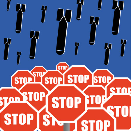 antiwar: Stop The Bombing concept with bombs falling out of the sky above road traffic stop signs