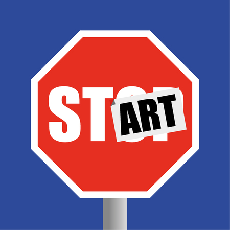 street symbols: Road traffic STOP sign with a sticker of the word ART added to change it to START