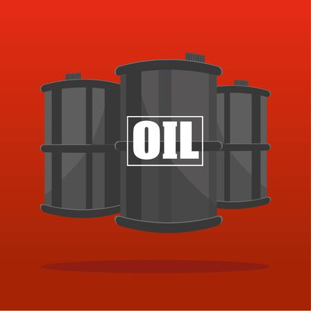 suspended: Three Oil barrels or drums shown in perspective suspended on a red background with the word OIL added in white text Illustration
