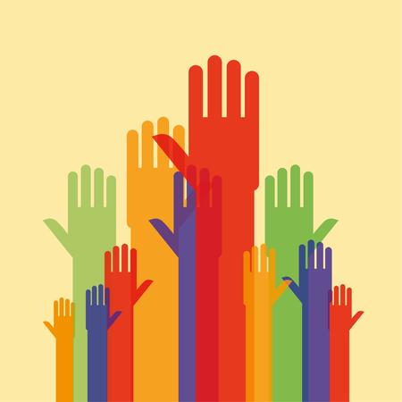 manos humanas estilizadas y los brazos levantados, como si la búsqueda de atención en varios tamaños de perspectiva y opacos colores de fondo con espacio de la copia