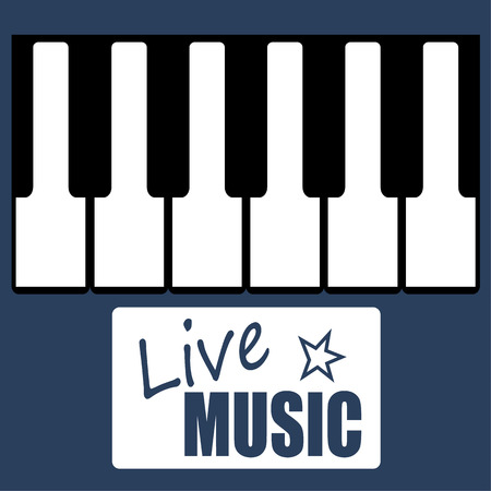 live music: Vector illustration of black and white keys on a piano or synthesizer keyboard with an added text box promoting Live Music Illustration