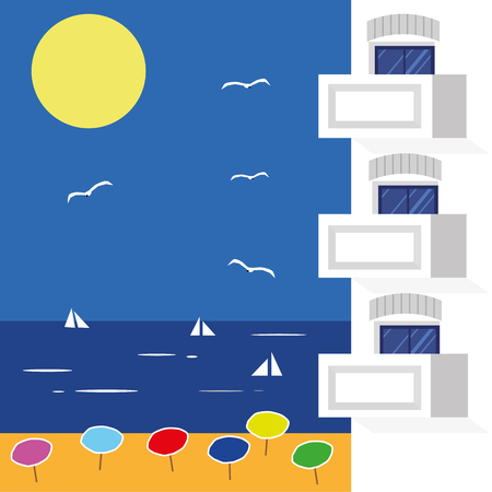 overlook: Vector illustration of modern hotel apartments with balconies and windows in front of a backdrop of blue sea and beach scene under a sunny blue sky