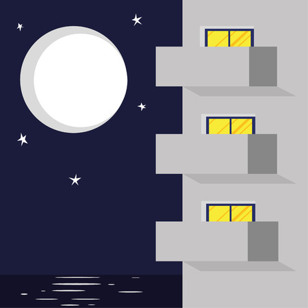apartment block: Vector illustration of modern hotel or apartment block with balconies and windows in front of a backdrop of the sea and sky under a moon and stars