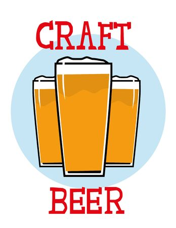 Three glasses of foaming beer or ale with the words Craft Beer added in hand drawn text