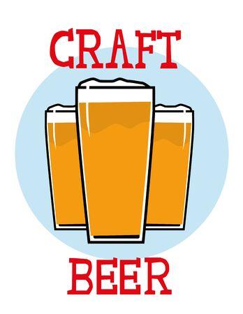 Tres vasos de cerveza espumante o el refresco con las palabras Craft Beer añadido en el texto dibujado a mano
