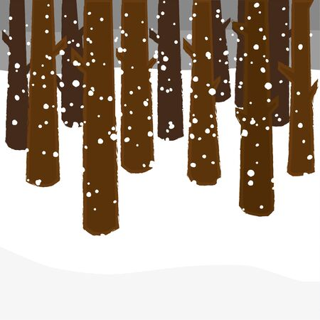 snow drifts: Stylized trees in a forest in winter under a gloomy sky with snow flakes falling to the ground left blank for copy space
