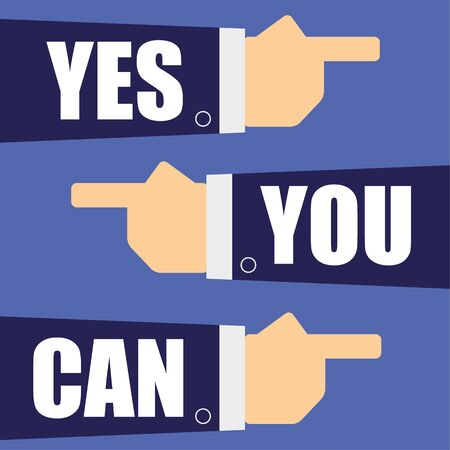 you can: Ilustración vectorial de tres brazos y las manos en trajes de negocios que señala el uno al otro con las palabras sí se puede añadido en el texto blanco