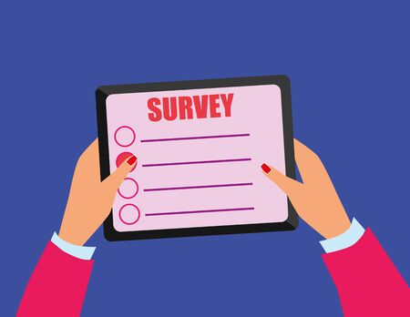 participation: Female hands with nail varnish holding a tablet device on which there is a survey screen with participation buttons and space for additional text Illustration