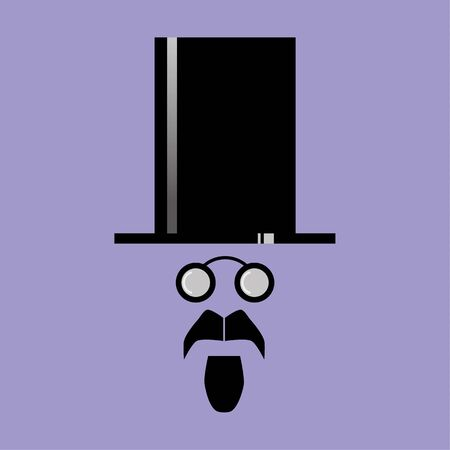 style goatee: Human face comprised of the basic features of moustache, goatee beard and spectacles of a Victorian style beneath a top hat