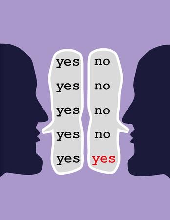 conflicto: Dos cabezas opuestas repitiendo las palabras sí y no en el discurso burbujas hasta que ambos dicen que sí como un concepto para el arte de llegar a un acuerdo a través de negociaciones