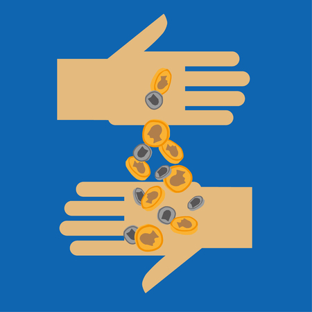 Two stylized opposing hands with one hand pouring gold and silver coins into the other as a concept for donating or funding Ilustração