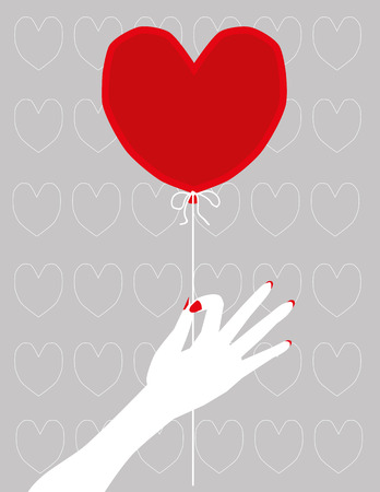 letting: Female hand in white with red nail varnish holding a Valentines Day balloon in the shape of a red heart on a lilac background of heart symbols