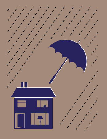 windows home: Stylized house with an umbrella keeping the rain off as a concept for property insurance or maintenance