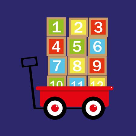 pull toy: ilustraci�n de un carro de juguete de color rojo tradicional o carro con bloques de n�meros apilados y listos para ser transportados