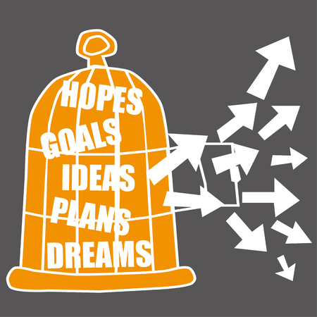 escape plan: Bird cage full of aspirations such as hopes and dreams with an open door and direction arrows symbolizing their release