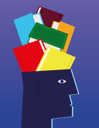 hardback: Stylized human head in profile with various hardback books and textbooks crammed into the brain cavity Illustration