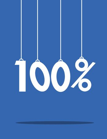 hanging dangling: The numbers one hundred percent attached to strings and hanging above their shadow on a blue background Illustration
