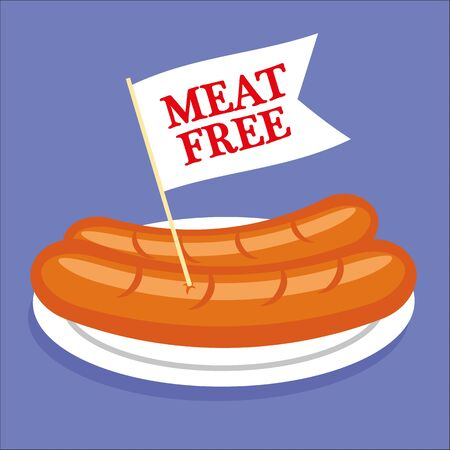 substitute: Two sausages or hot dogs on a plate with a white flag sticking out and the words Meat Free added in red text Illustration