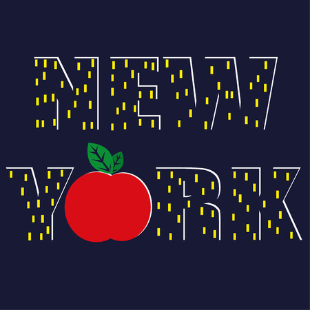 The word NEW YORK with the text rendered as skyscrapers at night and the letter O represented as a big apple