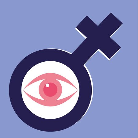 women's issues: International Womens Day concept with a female gender symbol and a stylized human eye in the circle Illustration