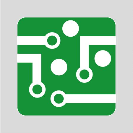 mother board: Circuit or mother board icon design in green and white