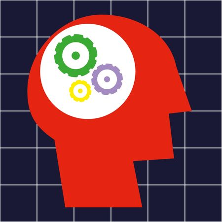 concentration gear: Stylized human head in profile and a set of gears or cogs in the brain area Illustration