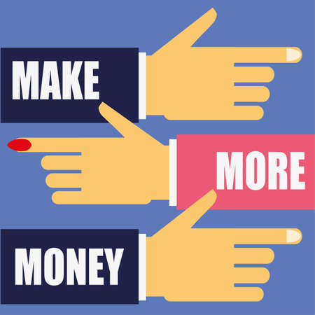 business direction: Male and female hands pointing in the right direction to Make More Money added in text to their business suit sleeves