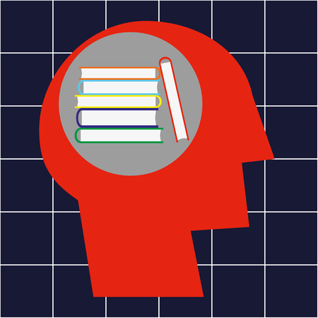 hardback: Stylized human head in profile and a stack of hardback books in the brain area as a concept for learning and education