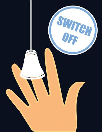 dangling: Hand reaching for an old style light switch on a cord next to a label with the words Switch Off in blue text as a reminder to save energy and the environment