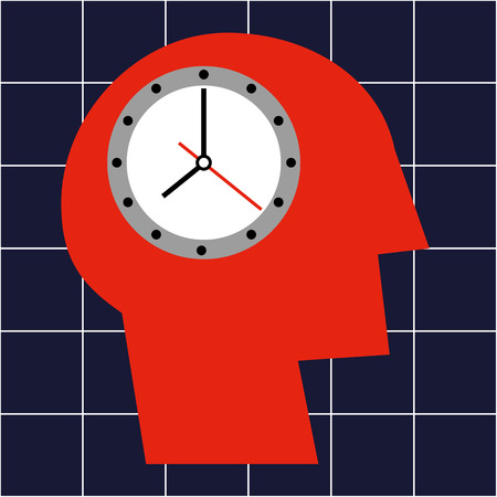 brain aging: Stylized human head in profile and a ticking clock in the brain area