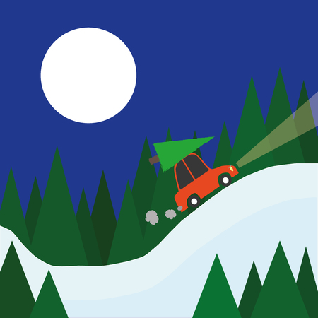 winter car: A small red car with a christmas tree on the roof drives home through a winter landscape of snow and trees beneath a full moon