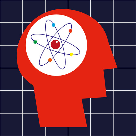 atomic symbol: Stylized human head in profile with an Atomic symbol in the brain area as a concept for education and science Illustration