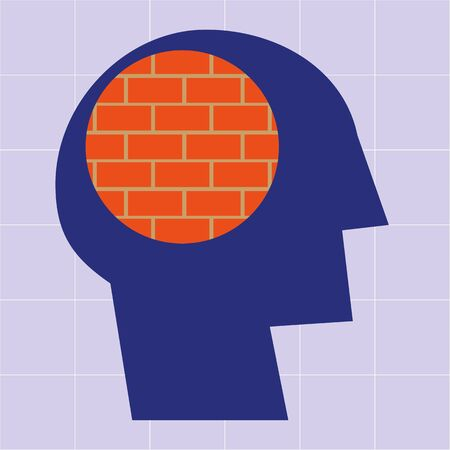 mental health problems: Stylized human head in profile with a brick wall pattern in the brain area as a concept for mental health problems or a closed mind