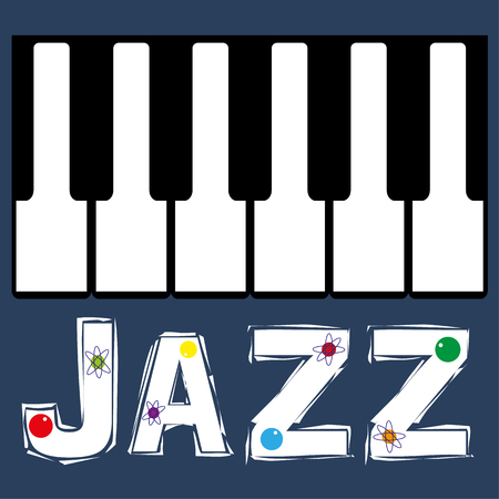 midcentury: Piano keyboard keys in a row above the word Jazz with added atomic symbols for a mid-century vibe Illustration