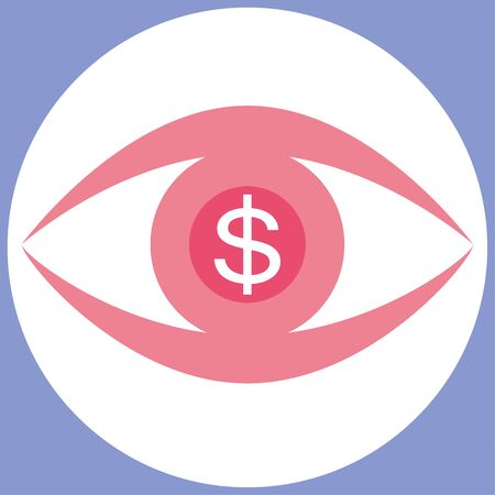 liquidity: Stylized human eye in shades of pink with a white dollar symbol in the pupil as a concept for focus and acquisition