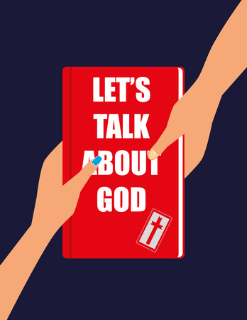 title hands: Male and female hands holding or passing a red hardback book with the title Lets Talk About God on the cover
